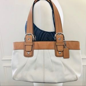 Coach Ivory Soho Pleated Leather Tote